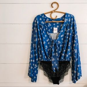 Free People Body Suit Blue with floral pattern